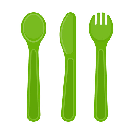 Vector illustration of plastic spoon, fork and knife isolated on white background.