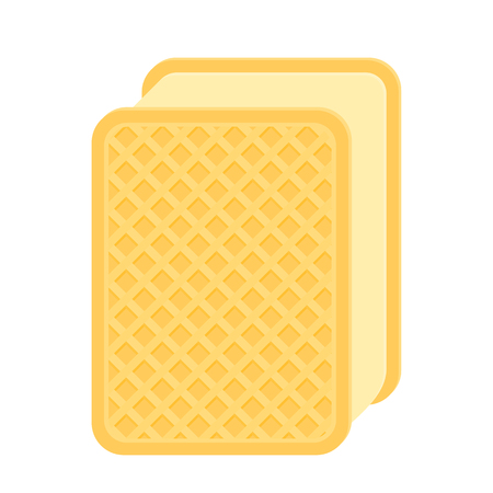 Vector illustration of ice-cream waffle sandwich isolated on white background.