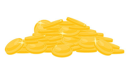 Pile of gold coins isolated on white background. Vector illustration of heap of money.