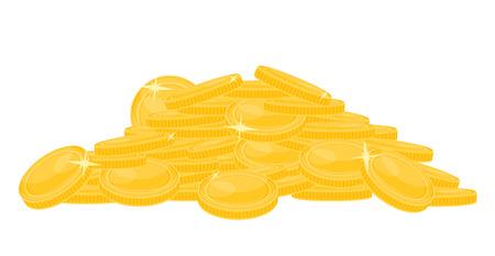 Pila de monedas de oro aisladas sobre fondo blanco. Ilustración de vector de montón de dinero. Foto de archivo - 96214167