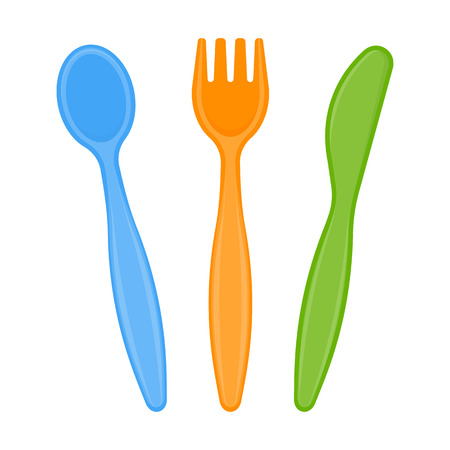 Vector illustration of plastic spoon, fork and knife isolated on white background. Stock Vector - 96214172