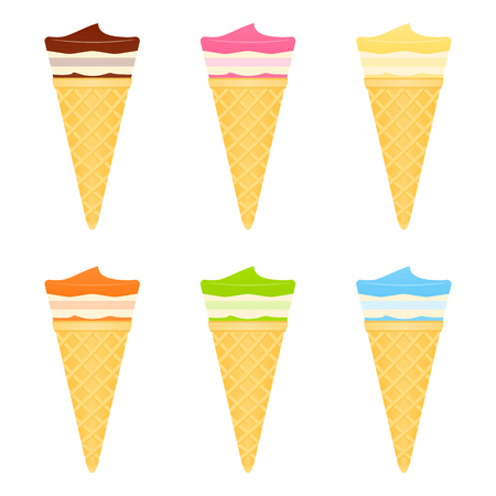Vector illustration of waffle ice cream cones with different flavors isolated on white background.