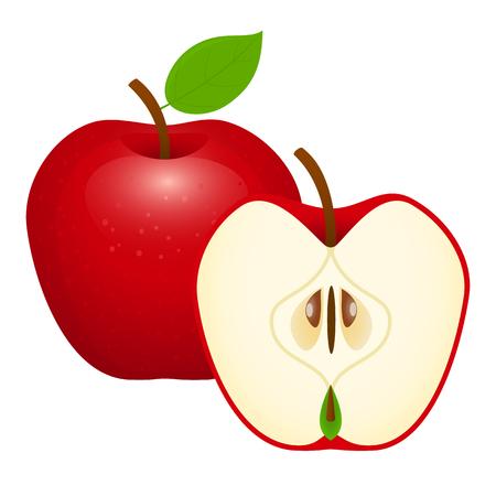 Manzana roja, en rodajas, con la mitad. Ilustración de vectores aislado sobre fondo blanco. Foto de archivo - 96214592