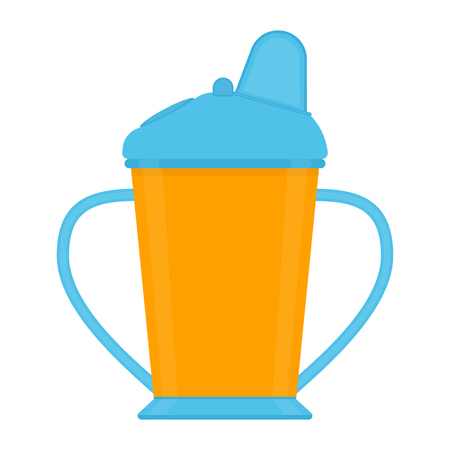 Baby sippy cup isolated on white background. Vector illustration of toddler feeding equipment.
