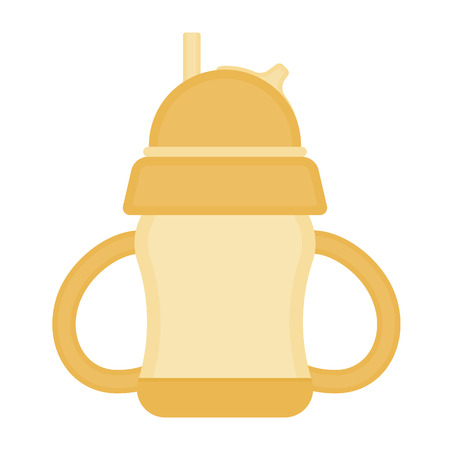 Baby sippy cup with straw, isolated on white background. Vector illustration of toddler feeding equipment.