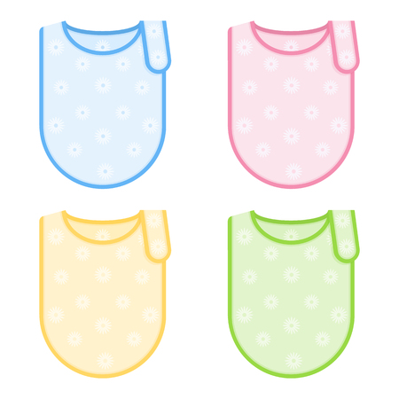 Set with decorated baby bibs in pastel colors. Vector illustration isolated on white background. Vettoriali