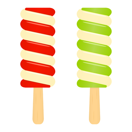 Vector illustration of ice-cream popsicles isolated on white background. Summer fruity dessert on stick.