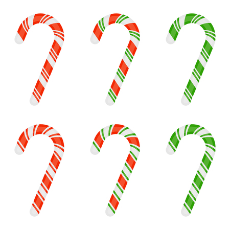 Vector illustration of Christmas candy cane isolated on white background. Xmas sweets set in flat style. Foto de archivo - 114826572