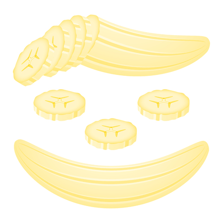 Vector illustration of peeled banana with slices isolated on white background. Vectores