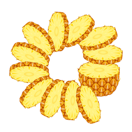 Vector illustration of sliced pineapple with rings isolated on white background. Sliced tropical fruit. Vectores