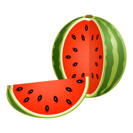 Vector illustration of cut watermelon with slice isolated on white background. Foto de archivo - 114801506
