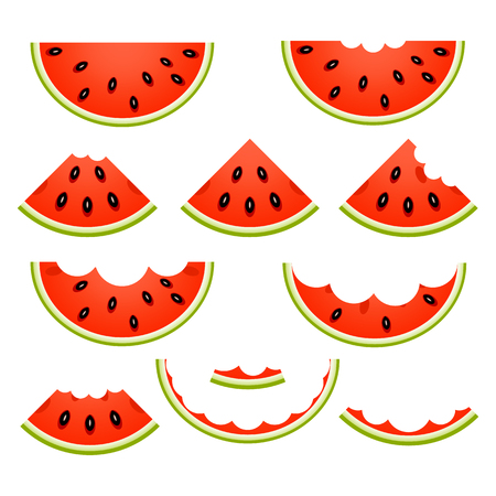 Vector illustration of watermelon slices, whole, eaten and rind, isolated on white background.