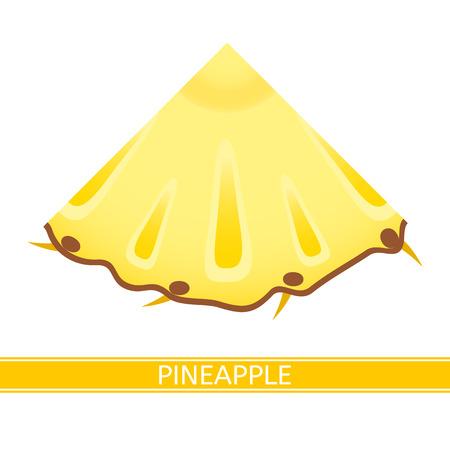 Vector illustration of pineapple wedge isolated on white background. Tropical fruit slice. Иллюстрация