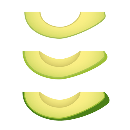 Avocado slices isolated on white background. Vector illustration