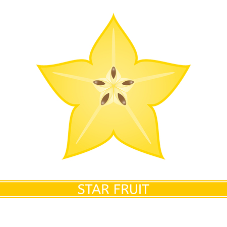 Starfruit slice isolated on white background. Vector illustration of carambola.