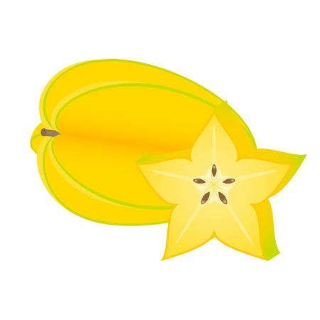 Starfruit slice isolated on white background. Vector illustration of carambola. Foto de archivo - 114801514