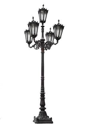Old iron street lantern on a white background Standard-Bild