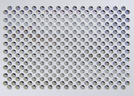 apertures: Metal plate of silvery color with symmetric apertures
