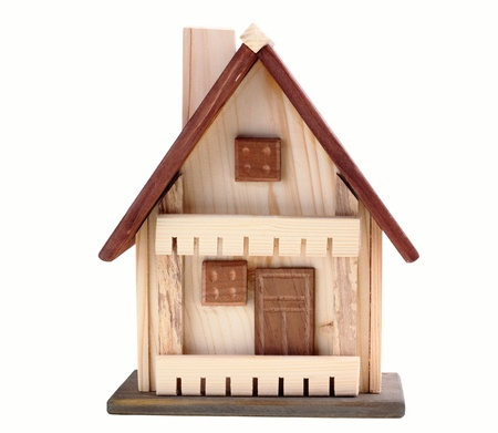 wooden small house isolated on a white background.