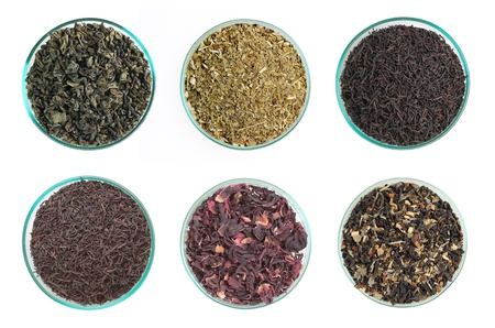 Six types of tea isolated on white background Stock Photo