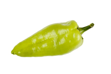One green pepper is isolated on a white background.
