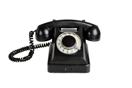 rotary dial telephone: Old-fashioned phone isolated on a white background.