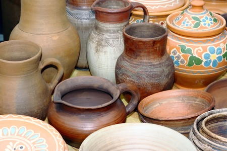 Pots in the window of a potter