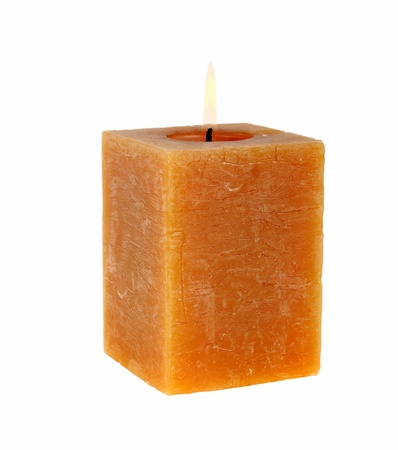 Aromatic rectangular candle on a white background photo