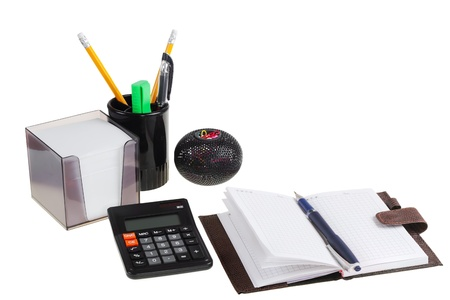 Office accessories isolated on a white background