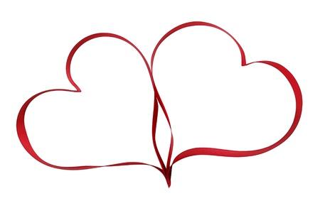 heart shaped: heart shaped ribbon symbol isolated on white