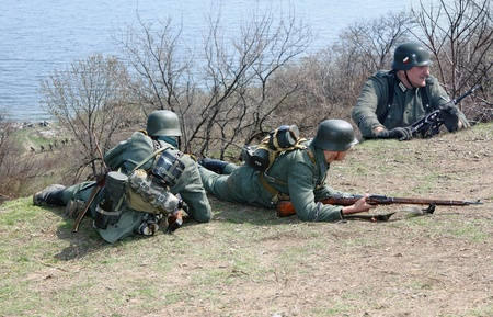 re enaction: ODESSA, UKRAINE -  April 8 shows Historical military club for public historical reconstruction of fight between the Soviet and German armies during the Second World War On April 8 2012 in Odessa