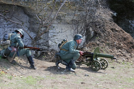 re enaction: ODESSA, UKRAINE -  April 8 shows Historical military club for public historical reconstruction of fight between the Soviet and German armies during the Second World War On April 82012 in Odessa