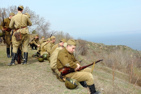 re enaction: ODESSA, UKRAINE -April 8 shows Historical military club for public historical reconstruction of fight between the Soviet and German armies during the Second World War on April 8 2012 in Odessa