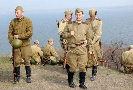 re enaction: ODESSA, UKRAINE -   April 8   shows Historical military club for public historical reconstruction of fight between the Soviet and German armies during the Second World War  On April 8  2012   in Odessa Editorial