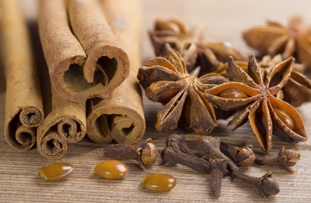 Closeup of cloves , cinnamon sticks and anise stars spices. Stock Photo