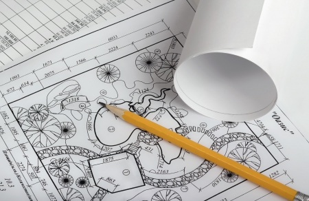 Rolls of drawings with elements of landscape design