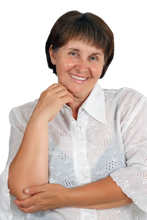 A smiling woman at the age of a white background