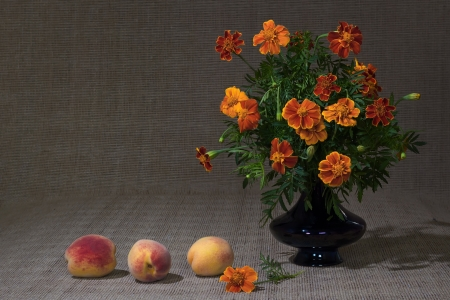 Classic still life with bright flowers and fruits photo