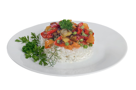 A delicious white rice with vegetables and parsley