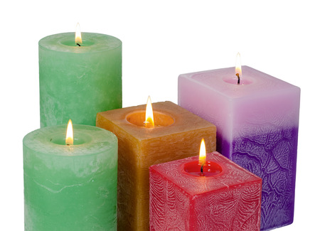 Colorful scented candles isolated on white background Reklamní fotografie