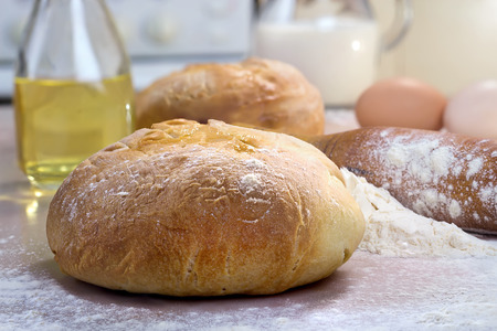 ingredients  baking homemade bread on the table