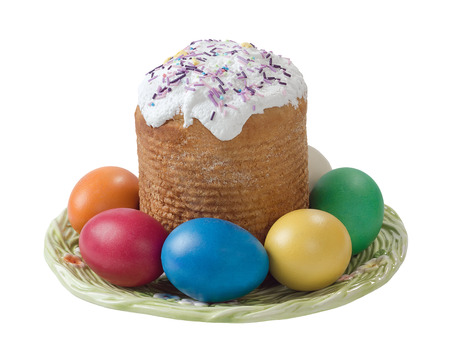 Easter cake and easter eggs isolated on white background photo