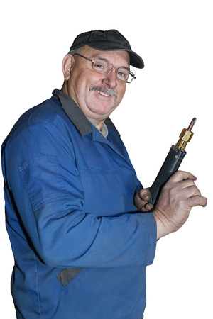 Portrait of a happy middle-aged worker on a white background