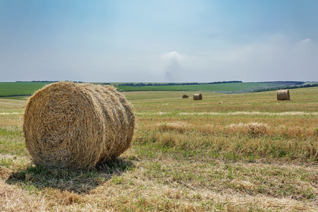 cereal field with straw bales and the blue sky