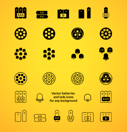 led light: Batteries and LEDs vector icons Illustration