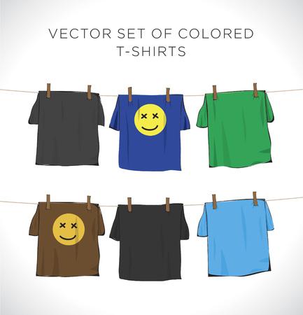 Vector set of colored t-shirts Ilustração