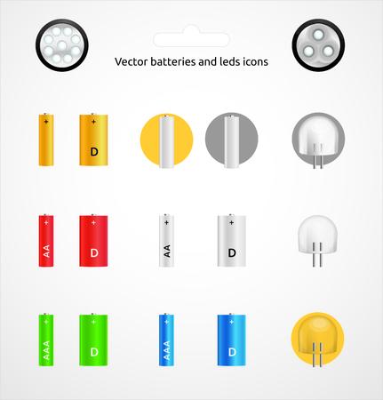 leds: la batería del vector y conjunto de iconos de LEDs Vectores