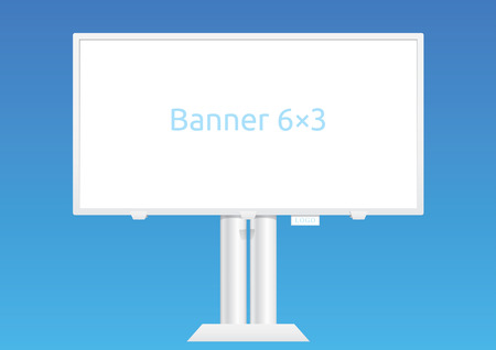 Vector outdoor advertising structure for banner 6x3 meters, isolated on blue and editable