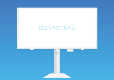 outdoor advertising construction: Vector street advertising structure for banner 6x3 meters, isolated on blue