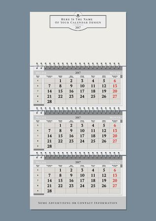 Vector annual calendar template Ilustração